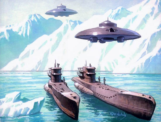 Рисунка на нацистки летящи чинии в тайна база под ледовете на Антарктида.