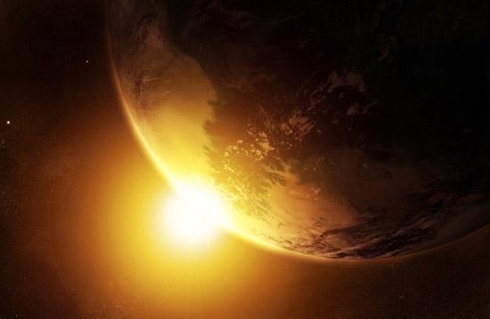 Земята и Слънцето, гледани от неутрална позиция.