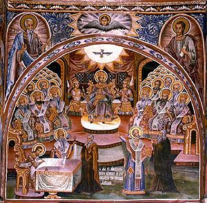Първи вселенски събор в Никея, 325 г. Първи вселенски събор в Никея, 325 г. В средата горе е св. Константин велики. Стенопис от Захарий Зограф във Великата Лавра на Света гора.