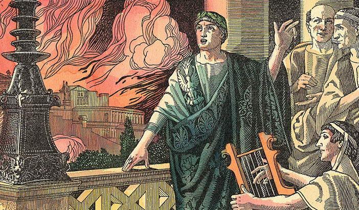 """Viterbo, 1928: """"Нерон в своята кула се наслаждава на гледката от горящия Рим и пее под съпровода на арфата."""""""
