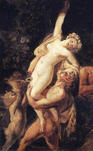 Тракийска вакханка издигната от сатири във вихъра на Дионисов обред. Или поне така са си представяли сцените художниците на други народи.