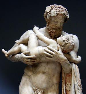 Невръстният Дионис в ръцете на своя пазител и учител Силен(ус). Без пряка връзка с темата за Храниполе.