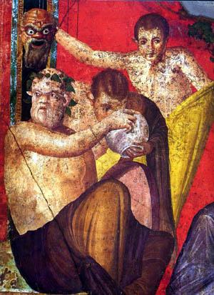Дионис в обкръжението на селените, а в част от изображението се вижда и ритуална маска.